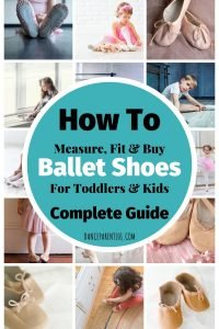 How to measure, fit and buy ballet shoes for toddlers & kids. The complete guide with everything you need to know from the types of material ballet shoes come in, how to measure your child's foot about boys ballet shoes and more! #balletshoes #ballet #dance #danceshoes