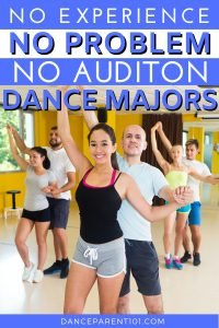 Did you know you can major in dance at college or university with no experience there are more than 40 college dance programs that admit students into dance degrees without an audition! So if you are a highschool student, planning to be a freshman next year choosing a university and putting in your applications, when doing your college prep check out the list of colleges with bachelor or art and science degrees in dance.